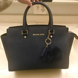 Authentic Michael Kors Selma Medium Satchel -Navy